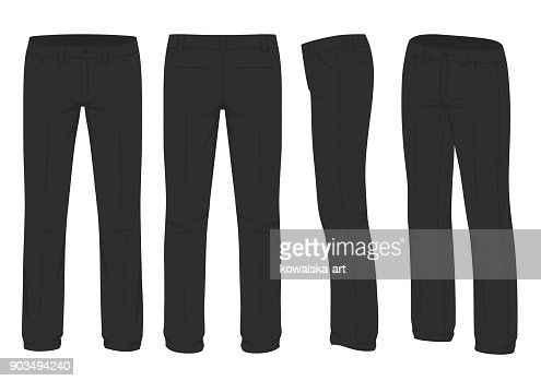 men fashion, suit uniform, back side view of pants : stock vector