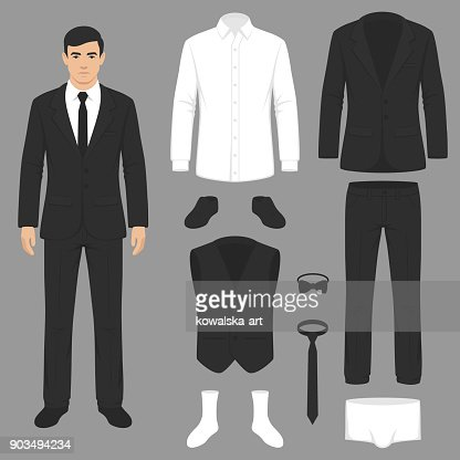 men fashion, suit uniform, jacket, pants, shirt and shoes isolated : stock vector