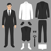vector illustration of a men fashion, suit uniform, jacket, pants, shirt and shoes isolated