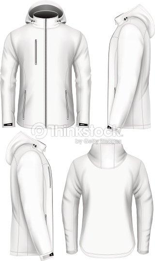 男性フード付きジャケットデザインテンプレートソフトシェル ベクトル