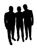 Men together portrait, silhouette vector