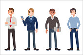 Multinational men wearing office clothes. Dress code concept. Flat style vector illustration isolated on white background.
