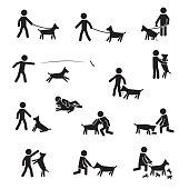 Men with big bread dogs icon set. Vector. eps10.