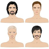 Simplified image of men with different hairstyles  isolated on white.