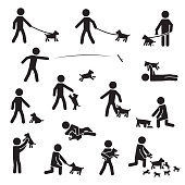 Men with small bread dogs icon set. Vector. eps10.