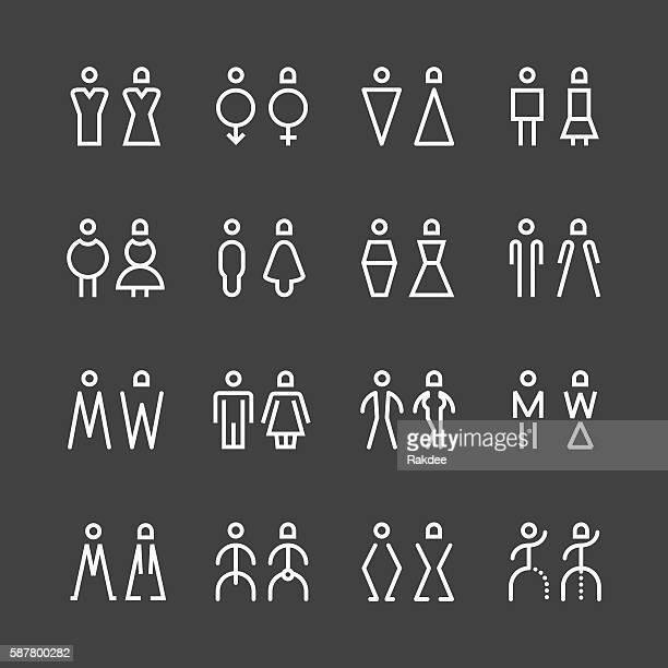 Men & Women Icon - White Line Series