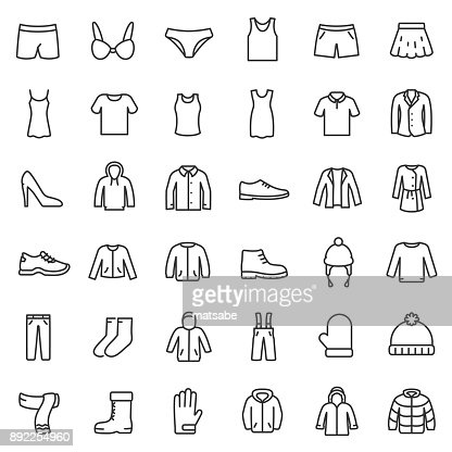 men's and women's clothing for different seasons, icons set. Line with Editable stroke : stock vector