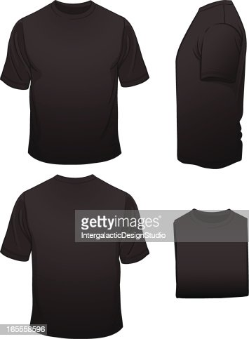 Mens Blank Black Tshirt In Four Views Vector Art | Getty Images