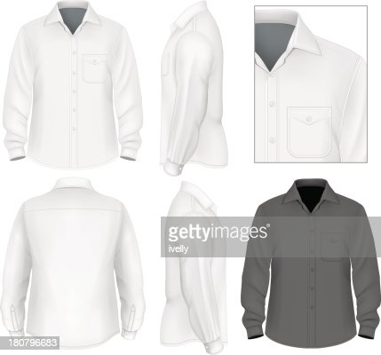 Men's button down shirt long sleeve : stock vector
