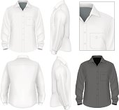 Photo-realistic vector illustration. Men's button down shirt long sleeve design template (front view, back and side views). Illustration contains gradient mesh.
