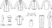 Men's clothes, Garment illustration, Office wear, Accessories, vector