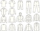 Vector men's clothes isolated on white