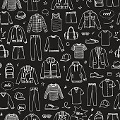 Men's Clothing and accessories. Chalk drawing style. Hand drawn seamless pattern