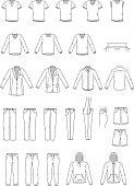 Men's clothing illustration, garment, vector outline, shirts, sportswear, coat, pants