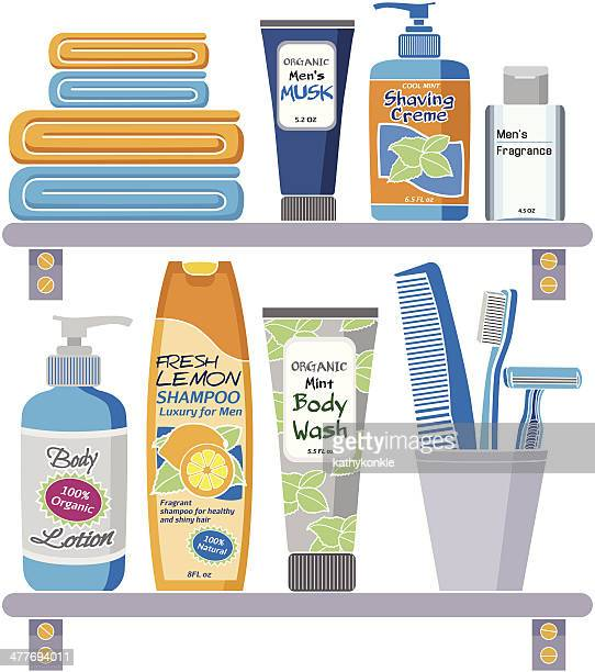 men's grooming products on a shelf