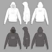 Front, back and side views of men's hoodie t-shirt