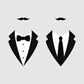 Men's jackets. Tuxedo with mustaches. Weddind suits with bow tie and with necktie. Vector illustration