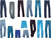Set of men's jeans isolated on white background