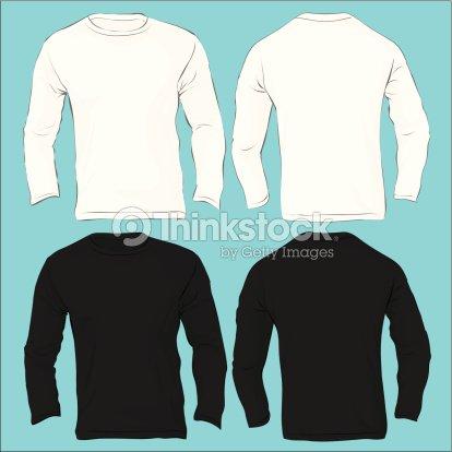 Mens Long Sleeved Tshirt Template Black White Vector Art | Thinkstock