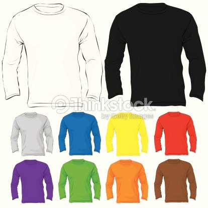 Mens Long Sleeved Tshirt Template In Many Color Vector Art Thinkstock