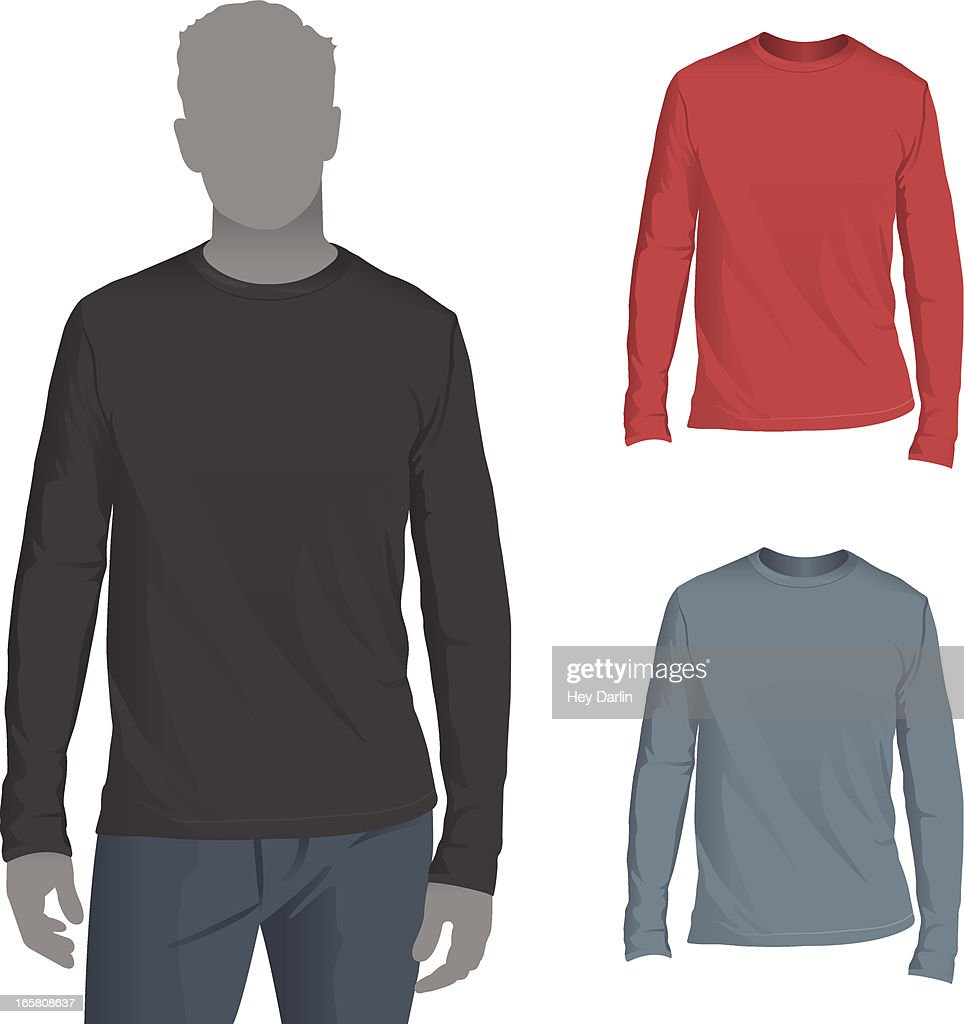 Mens longsleeve tshirt mockup template vector art getty for Long sleeve t shirt template