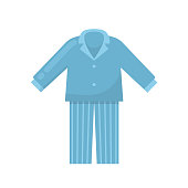 Men's pajamas, a nightgown, a sleeping shirt, home clothes, a night suit, a men's wardrobe of things. Time to sleeping. Nightwear, nightdress, nightshirt. Vector flat illustration.