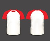 Mens raglan t-shirt in front and back views. Vector template. Fully editable handmade mesh. EPS 10