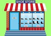 Men's shoes shop, shop window, discounts -10% -30% -50%, banner