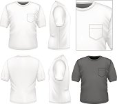 Photo-realistic vector illustration. Men's t-shirt design template (front view, back view, side views). Illustration contains gradient mesh.