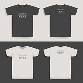 Men's t-shirt. Front, back and side views on gray background