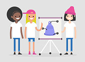 Menstrual cup, conceptual illustration. A group of ladies presenting the scheme of using the menstrual cup. Educational presentation of a hygienic product. Flat editable vector illustration, clip art