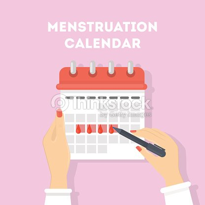 Menstruation calendar illustration. : stock vector