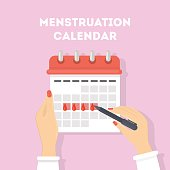 Menstruation calendar illustration. Red signs of menstrual cycle.