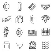 Menstruation icons set. Monthly menstrual cycle, thin line design. Linear symbols collection. Tracking of the menstrual cycle, isolated vector. Hygiene products