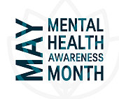 Mental health awareness month concept. Square typography design, vector