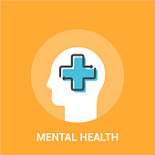 Mental health concept. Vector illustration. Medical cross in the human head