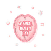Mental Health Day composition. Vector handwritten lettering with human brain. Template for greeting card and promotion.