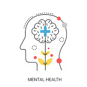 Mental flat line health vector illustration concept.