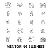Mentoring business, mentor, coaching, business guidance, train, help, teamwork line icons. Editable strokes. Flat design vector illustration symbol concept. Linear signs isolated on white background