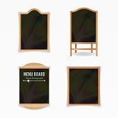 Menu Black Board Vector. Empty Cafe Menu Set. Realistic Wooden Chalkboard Blank