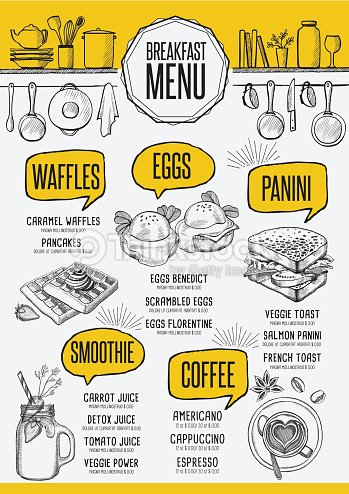 Menu Breakfast Restaurant Food Template Placemat Vector Art