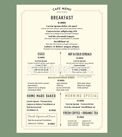 menu design template layout for breakfast restaurant cafe vintage style vector art