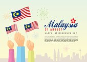 31 August - Malaysia Independence Day illustration of citizen with Malaysia flags and city skyline. Poster template design.