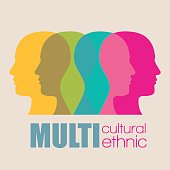 fusion modes silhouettes of men in colors vector illustration