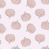 Meringues sweet pattern. Creamy delicious marshmallow sugar texture. Bakery decoration. Delicious dessert print. Cute girly food sweets.