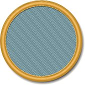 Woven merit badge, like those worn by Boy Scouts and Girl Scouts. Add your own icon. Vector file — will scale to any size without loss of quality.
