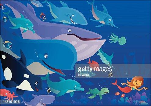 mermaid and friends : Vector Art