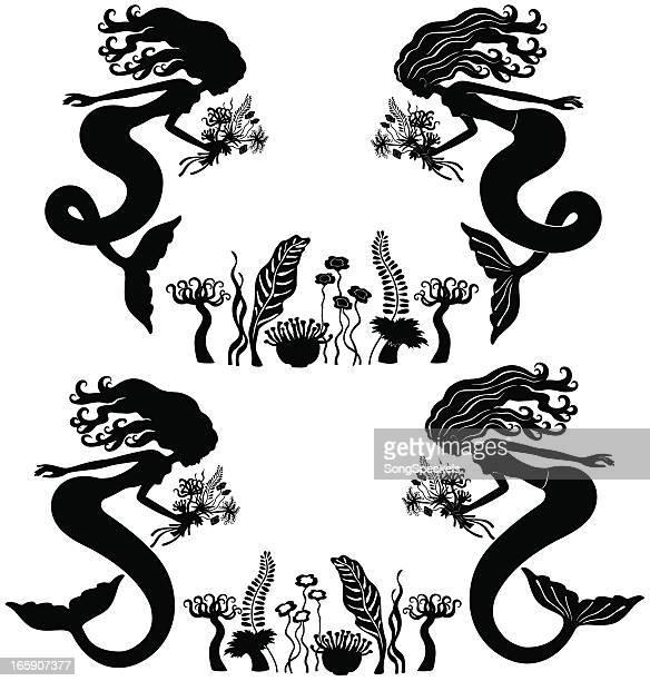 Mermaids gathering sea flowers