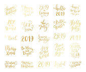 Merry and Bright Christmas, Happy Holidays, Happy New Year labels, emblems, logo, text, greeting cards set. Vector winter holidays backgrounds with hand lettering calligraphy. Golden gradient