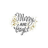 Merry and bright hand drawn lettering. Handwritten modern brush lettering. Perfect for greeting cards.